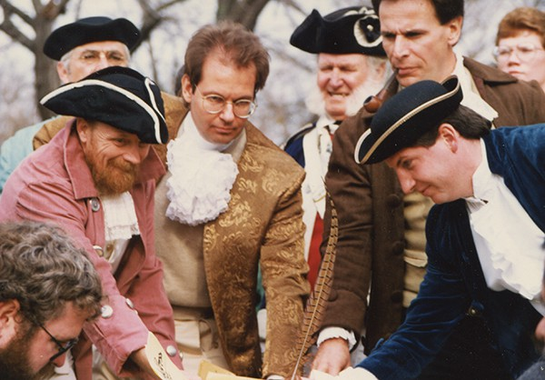 The 1989 Reenactment of the Ratification of the Bill of Rights in Perth Amboy (November 20, 1989) during the 200th Anniversary of this event. (L to R) Anton J. Massopust, John K. Dyke, Kurt Epps and J.V. Costello    *Photo Courtesy of  Barbara Booz