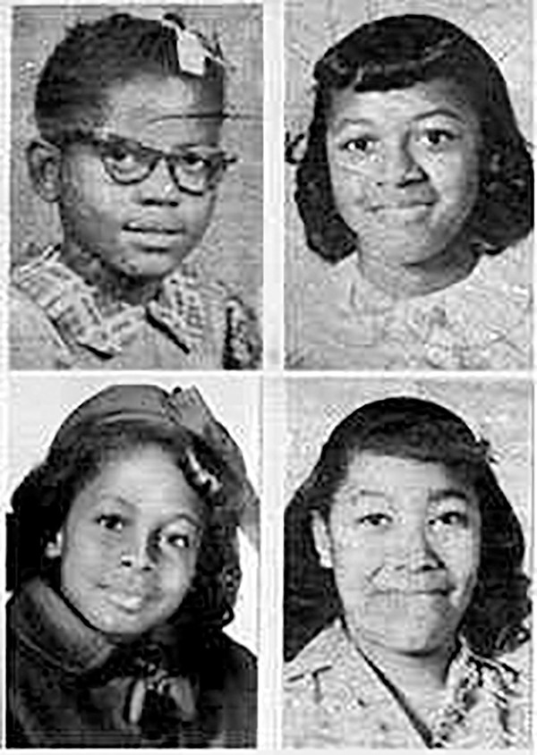 The four girls killed in 16th Street Baptist Church bombing (Clockwise from top left, Addie Mae Collins, Cynthia Wesley, Carole Robertson and Denise McNair)