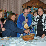 Helen Suravlas, Chairperson of the cutting of the Vasilopita and luncheon, Stella Wacker; Treasurer, Metropolis of NJ Philoptochos Society; President of St. Demetrios Philoptochos Society. Rev. Father Angelo J. Michaels, Zachary Giannakopoulos, Dean Giannakopoulos and Honorable Marina Corodemus, Parish Council President
