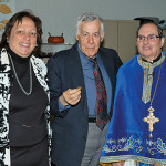 Honorable Marina Corodemus Parish Council President, Stavros Tsapatsaris, the Chantor of St. Demetrios who found the second gold coin, and Rev. Father Angelo J. Michaels