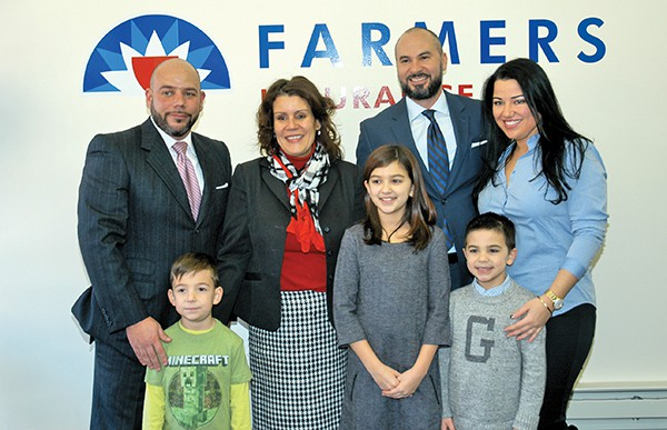 (L to R) Farmers Co-Owner Gabriel Ubides, Andres Ubides, Mayor Diaz, Madison Tabares, Co-Owner Freddie Tabares, Alex Tabares, and Madeline Rodriguez