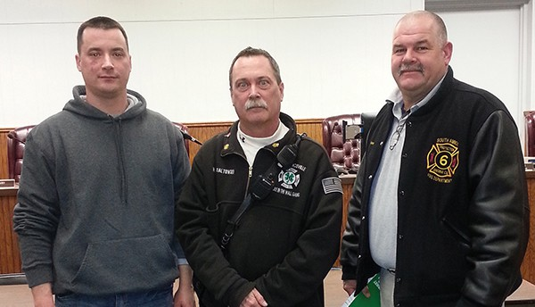 SOUTH AMBOY  - First Assistant Chief John Kelly, Fire Chief Mike Geraltowswki and Second Assistant Chief Steve Szatkowski were present at the 3/4/15 Business Meeting and thanked the Council for their help in obtaining a new fire truck. *Photo by Carolyn Maxwell