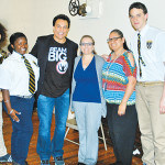 (L to R) Neashally Luna, Regina Bishop, Wrestler Marc Mero, Mrs. Maria Sean, Attendance Officer and Mrs. Christine Lopac, Interim Lead and Juan Gonzalez