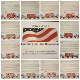 PERTH AMBOY - This photogrid was delivered to the Perth Amboy Fire Dept. on 9/11/15 recognizing them for all that they do to keep us safe. The letters were composed by the 3rd grade G&T class under the direction of their teacher Mr. Douglas P. Grimm Jr. from the Dr. Herbert N. Richardson School in observance of 9-11.