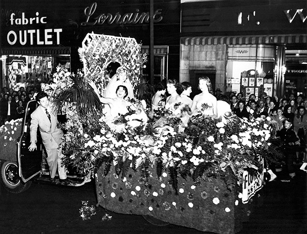PERTH AMBOY - Allied Florist Float in the Annual Halloween Parade October 28, 1954. *Photo Courtesy of Gary Muska This Photo was restored under a grant for the Kearny Cottage Archiving project by the Middlesex Cultural and Heritage Commission