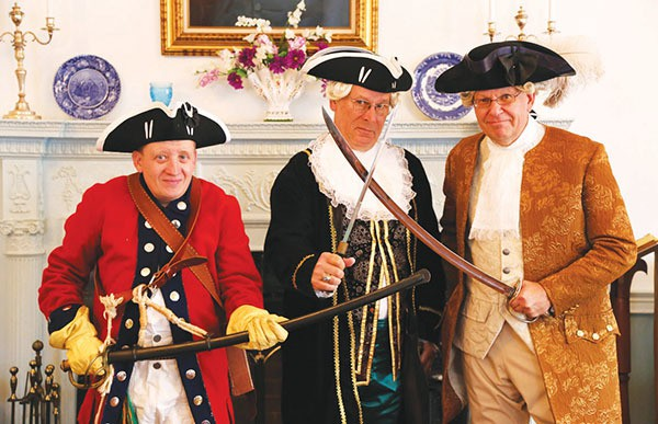 Anton Massopust III, Kurt Epps as William Franklin and John Kerry Dyke pose for a photo after giving tours to school children at the Proprietary House. *Photo by Coralia Peralta