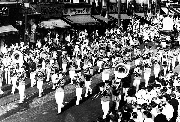 PERTH AMBOY - Parade going down Smith Street circa 1955. Reynolds Department Store is in the background. *Photo Courtesy of John K. Dyke