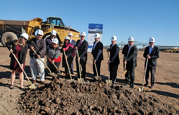 Traditional Golden Shovels symbolize the ground-breaking of the new EPort Logistics Center