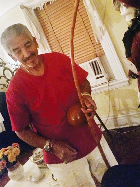 Ricardo Solis, artist, percussionist on the the berimbau is a single-string percussion instrument, a musical bow, from Brazi