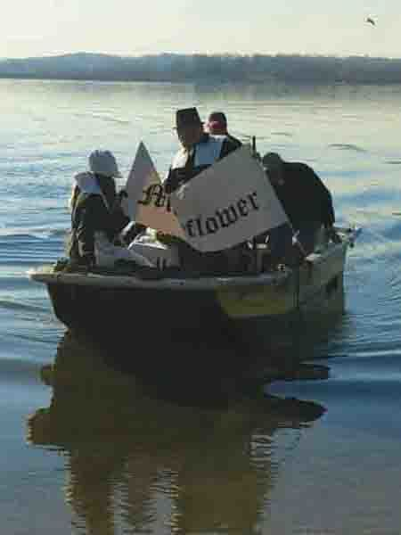 """Students from Wilentz School simulated the arrival of the Mayflower. The """"Mayflower"""" was piloted by Michael Care and Mr. Wild while coming in to land."""