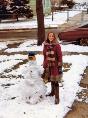 Katherine (Age 9) and Snowman 1976