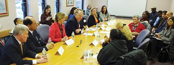 (L to R): Senators Gordon, Vitale, Pou and Sweeney participate in a roundtable discussion with advocates on funding losses affecting New Jersey food assistance programs.*Photo Submitted