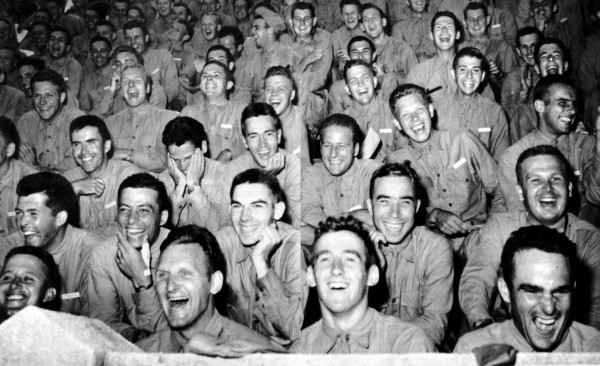 Soldiers in the United Service Organization, commonly known as the USO. The organization was founded during World War II to entertain U.S. troops.