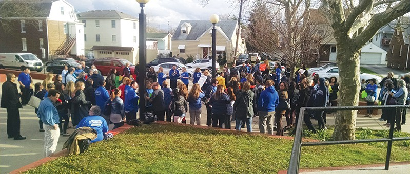 PERTH AMBOY - Teachers, Staff and BOE Employees demonstrate outside PAHS before the 4/7/16 Board of Education Meeting, showing their displeasure with the BOE. It is April 2016 and Employees still do not have a contract. *Photos by Katherine Massopust