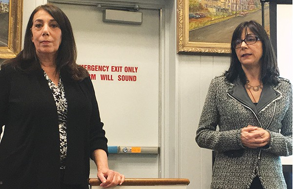 Diana St. John and Susan Pellogrini give a presentation on the arts in South Amboy.