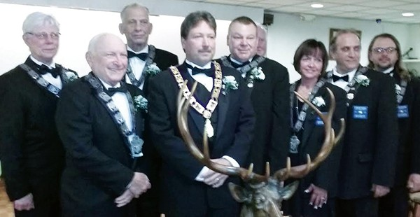 SOUTH AMBOY - On Saturday, April 2, 2016 at 6:00 p.m., the South Amboy Elks #784, installed the new officers for the 2016 to 2017 term lead by Exalted Ruler, Mike Green (C). They were sworn into their respective offices and positions. We are all looking forward to a very successful year in being of service to our veterans, the disabled, the elderly and all aspects of community where we are needed. — Mary Taylor