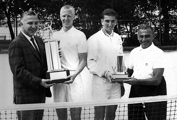 PERTH AMBOY - Ernest M. Muska – Commissioner of Parks and Recreation (1952-1966) (left) and Benny Goran, Supervisor of Recreation (right) presenting trophies circa early 1960's.   *Photo Courtesy of the Perth Amboy Free Public Library This Photo was restored under a grant for the Kearny Cottage Archiving project by the Middlesex Cultural and Heritage Commission