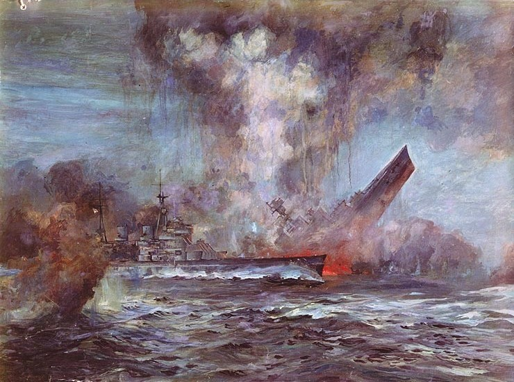 The HMS Hood sank in three minutes after an attack from the Bismarck. Public Domain as a U.S. Naval Historical Center Photograph.