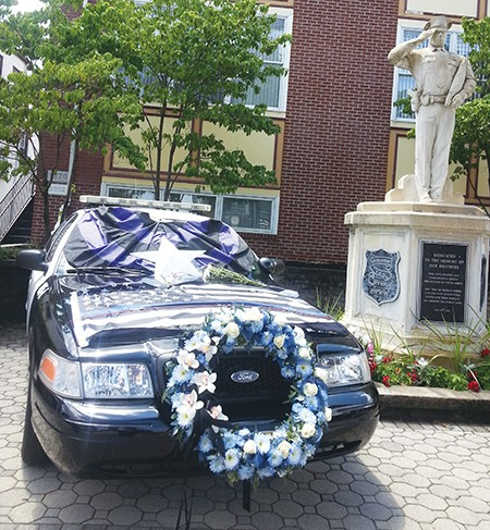 SOUTH AMBOY - Decorated South Amboy Police Car dedicated to the Dallas Police Officers located in front of South Amboy City Hall. *Photo by Carolyn Maxwell