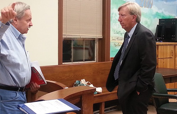 PERTH AMBOY - Resident Stanley Sierakowski speaks to Acting Law Director Louis N. Rainone at the end of the 9/14/16 Caucus *Photo by Carolyn Maxwell