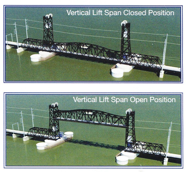 A Vertical Lift Bridge which will be similar to the one built between South Amboy and Perth Amboy. Bridge