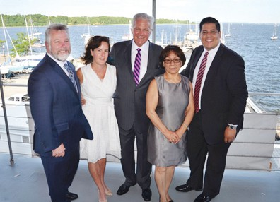 Pictured are the honorees of the 30th Annual Roberto Clemente Gala (L to R) John Ballantyne, Northeast Regional Council of Carpenters; Etta Rudolf Denk, Bank of America; James J. Elek, J.J. Elek Realty; Ana Maria Zevallos, Zevallos/Skrocki Home for Funerals; and Abraham López *Photos Submitted by PRAHD